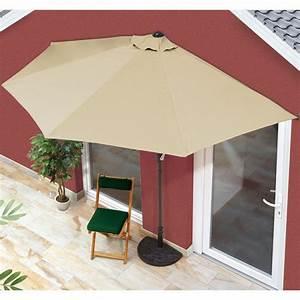 Easymaxx balkon sonnenschirm halbrund beige mit 40 uv for Französischer balkon mit schutzhülle sonnenschirm ikea