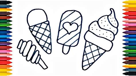 ice cream drawing ice cream coloring book fun painting ice