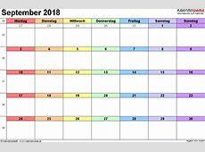Kalender September 2018 als PDFVorlagen
