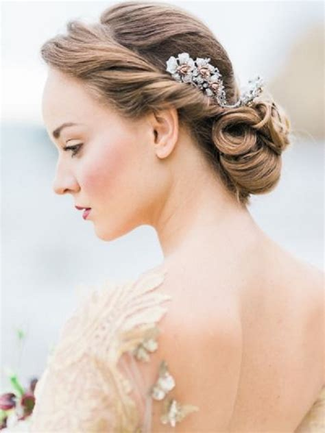 grecian wedding updo hairstyle with headpiece