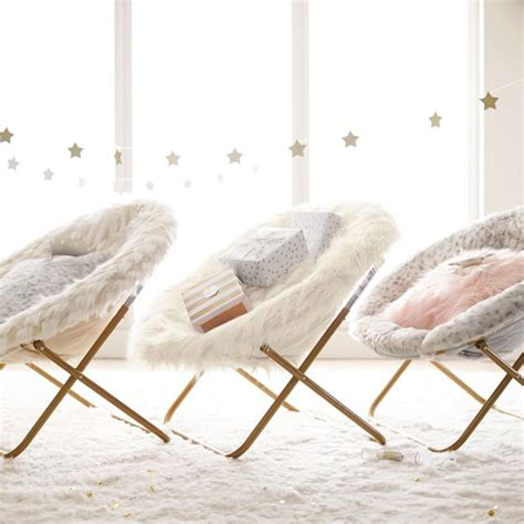 ivory himalayan faux fur hang a chair pbteen