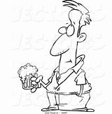Beer Cartoon Man Holding Coloring Outline Pensive Clipart Vector Royalty Pig sketch template