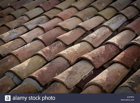 up of curved terracotta roof tiles andalucia spain