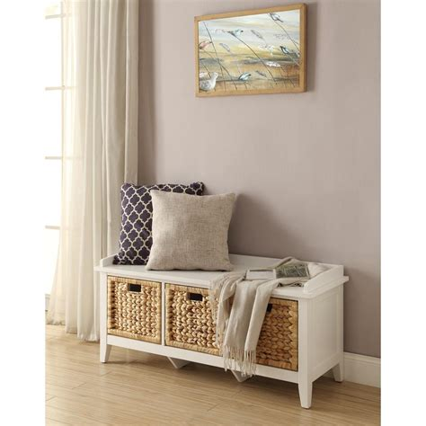 White Entry Way Bench - home decorators collection whitaker white storage bench