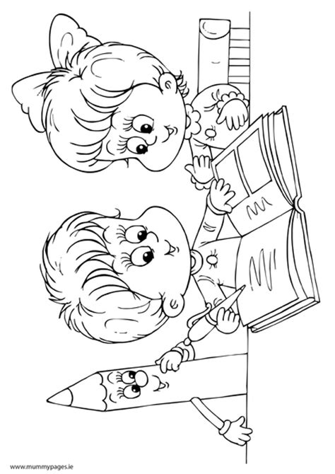 Boy and girl reading a book Colouring Page   MummyPages