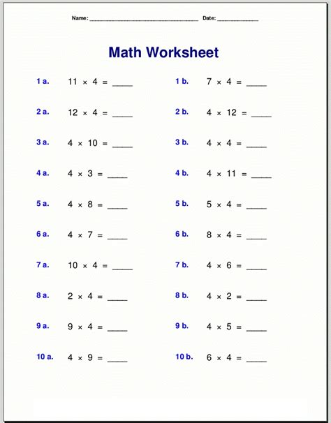 printable 4 times tables worksheets brokeasshome