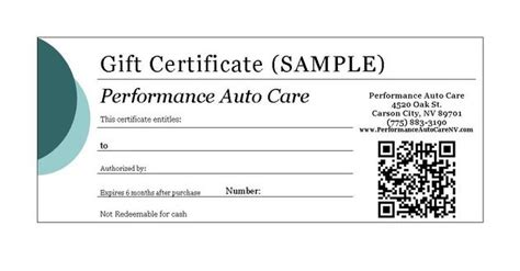 Automotive Gift Certificate Template Free by Performance Auto Care Carson City Nevada