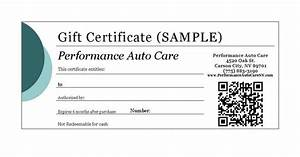 performance auto care carson city nevada With automotive gift certificate template