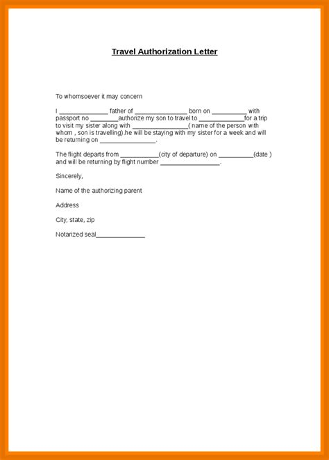 travel authorization letter examples  examples