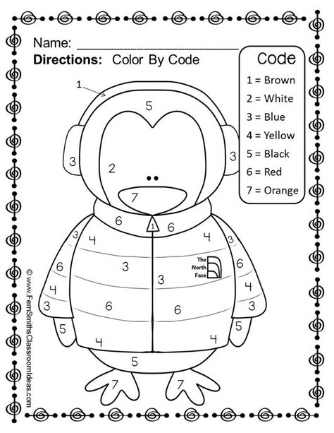 free winter numbers color your answers printable