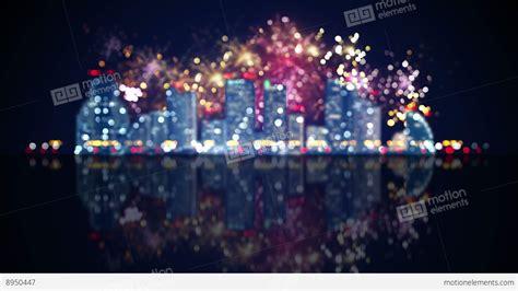 focus city lights  fireworks loop animation