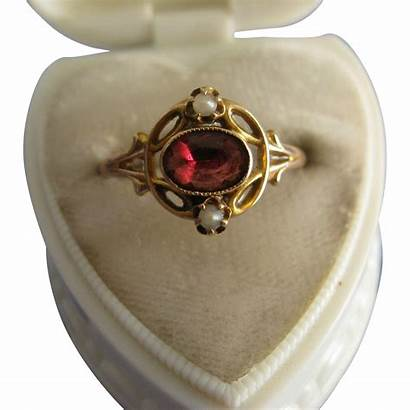 Pearl Garnet Antique Ring Seed 10k Jewelry