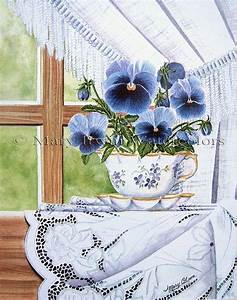 Cup-a-Pansies and Lace 꽃그림 및 꽃