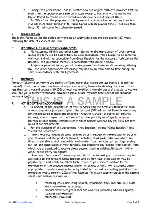 360 Deal Contract Template by 360 Deal Contract Templates See A Sle