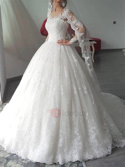 appliques long sleeves ball gown church wedding dress
