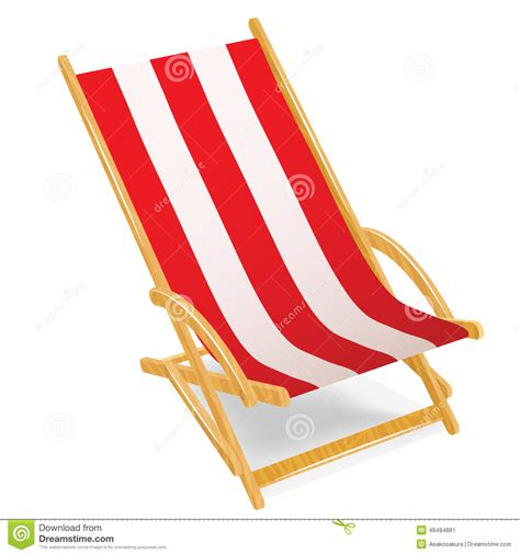 chaise plage wooden chaise longue isolated on white stock vector