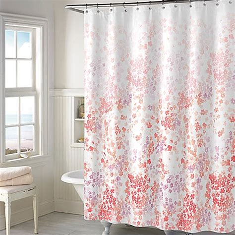 coral shower curtain buy floral shower curtain in coral from bed bath