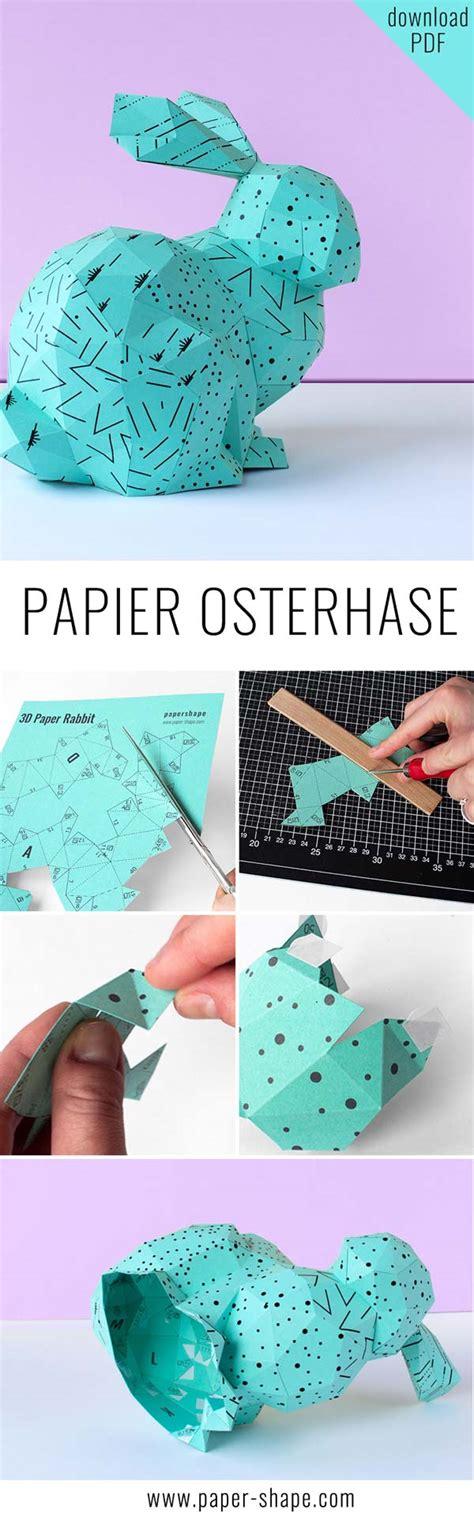 osterhasen basteln aus papier mit vorlage papershape