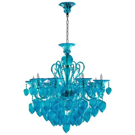 Aqua Chandelier by Vetro Light Blue Aqua Murano Glass 8 Light Ornament