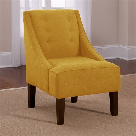 skyline yellow button accented linen swoop arm chair