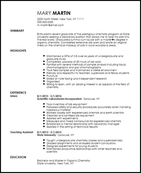 Chemistry Resumes by Free Entry Level Chemist Resume Template Resumenow