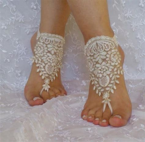 ship ivory gold cord wedding barefoot sandles anklet