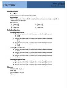 resume template in word free free resume template sle format