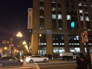 Protesters gathered outside Twitter HQ to demand that ...
