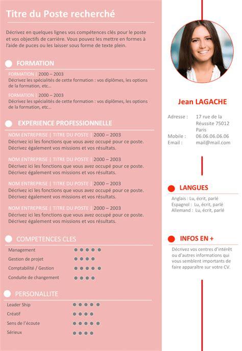 Modele Cv Couleur by Cv En Ligne Infographiste