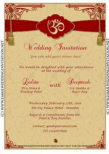 Diy email indian wedding card template baroque style on for E wedding invitation cards editable