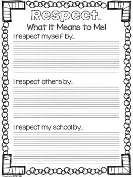 character education respect activity pack  proud