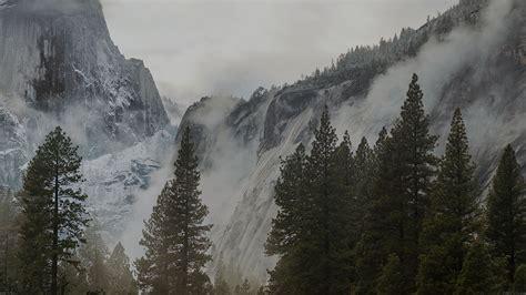 yosemite snow dark mountain nature wallpaper