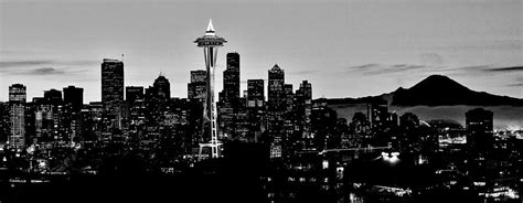 black throw pillows stark seattle skyline photograph by benjamin yeager