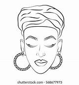 African Coloring Woman Face Turban Contour Shutterstock There Version Portfolio sketch template