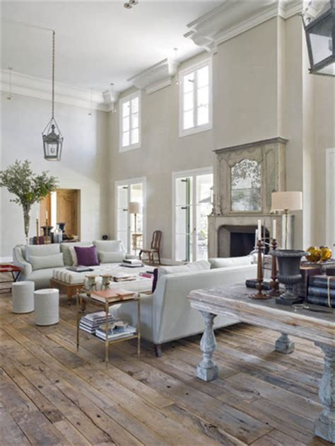 country style floor ls living room with rustic wood floors like the table behind