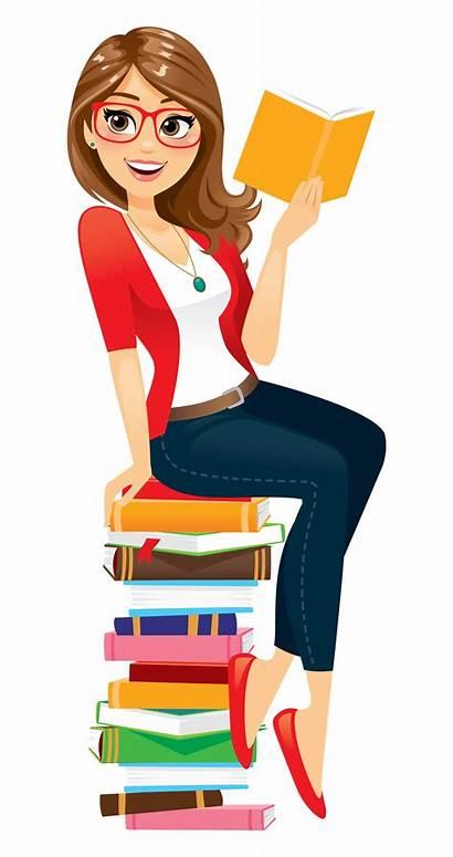 Reading Books Woman Clipart Tools Nerd Speech