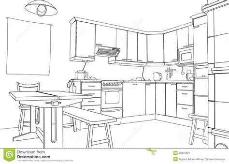 sketch kitchen design kitchen sketch stock vector illustration of outline 2288