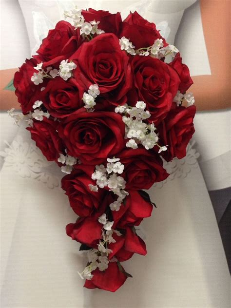 New Artificial Apple Red Wedding Bouquet Red Rose Brides