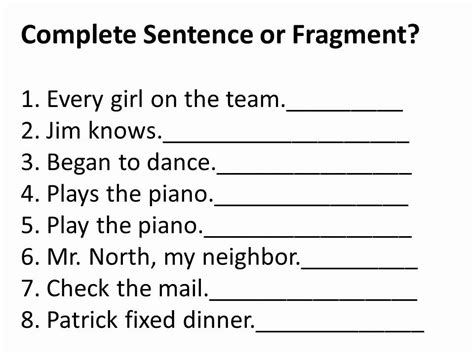 sentence or sentence fragments lions