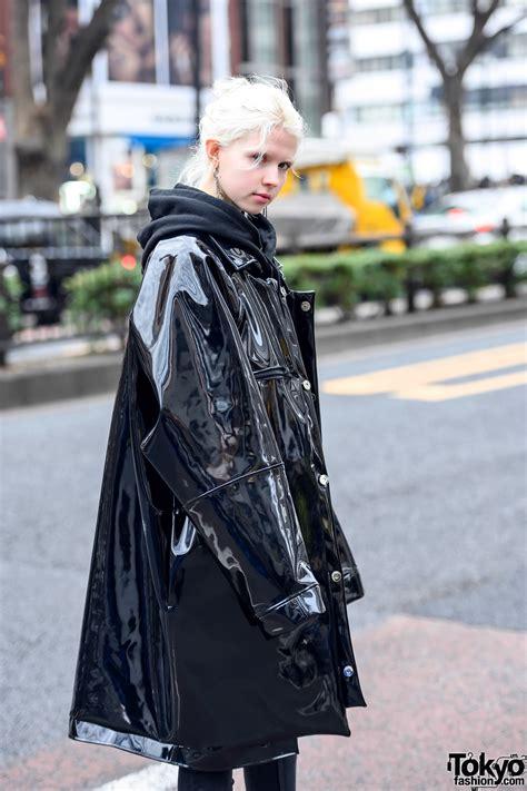 Harajuku Girl in Oversized Patent Leather Coat by Japanese ...