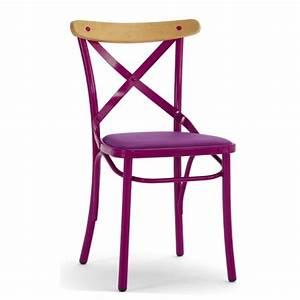 Chaise Bistrot Metal : chaise bistrot en metal assise rembourree cmg 15281r one mobilier ~ Teatrodelosmanantiales.com Idées de Décoration