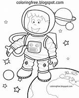Solar System Coloring Drawing Space Astronaut Cartoon Planets Preschool Printable Simple Planet Spaceship Sketch Spaceman Moon Learning Floating Learn sketch template