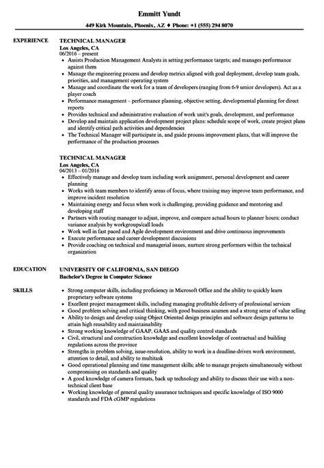 Technical Manager Resume Sles by Technical Manager Resume Sles Velvet
