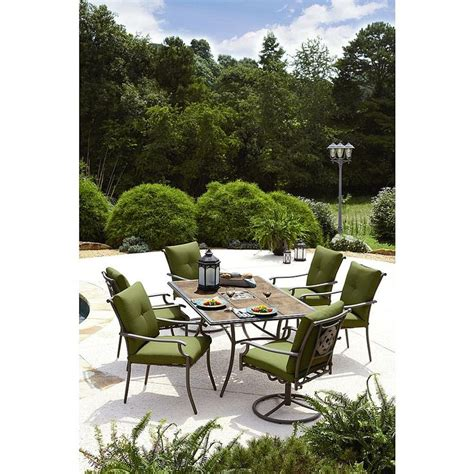 garden oasis emery 7 cushion dining set green