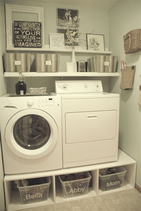 Cheap Kitchen Makeover Ideas - very small spaces after makeover old laundry room design with diy wood pedestal front loading