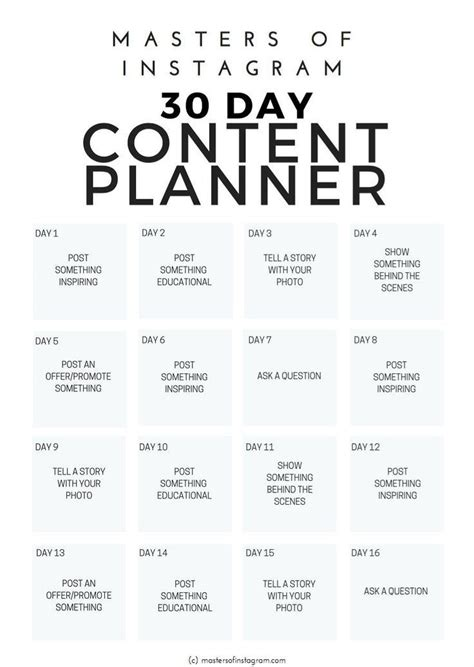 day instagram content planner   marketing