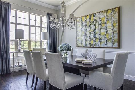 Gray Dining Room With Chair Rail  Dining Chairs Design