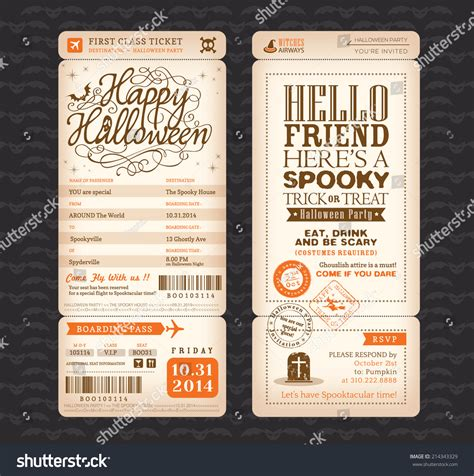 halloween party vintage style boarding pass stock vector