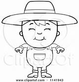 Farmer Boy Cartoon Smiling Clipart Coloring Cory Thoman Outlined Vector Collc0121 Protected sketch template
