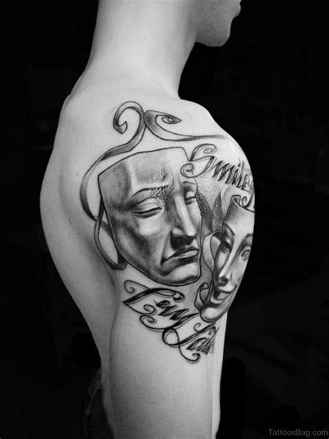 72 Outstanding Mask Tattoos On Shoulder